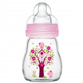 MAM晶彩耐溫玻璃奶瓶170ml (粉紅色)