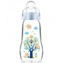 MAM晶彩耐溫玻璃奶瓶260ml (藍色)