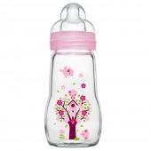 MAM晶彩耐溫玻璃奶瓶260ml (粉紅色)